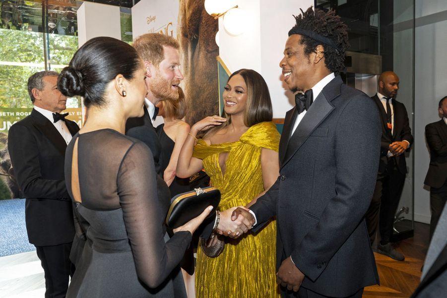 Le prince Harry, Meghan Markle, Beyoncé et Jay-Z à Londres le 14 juillet 2019
