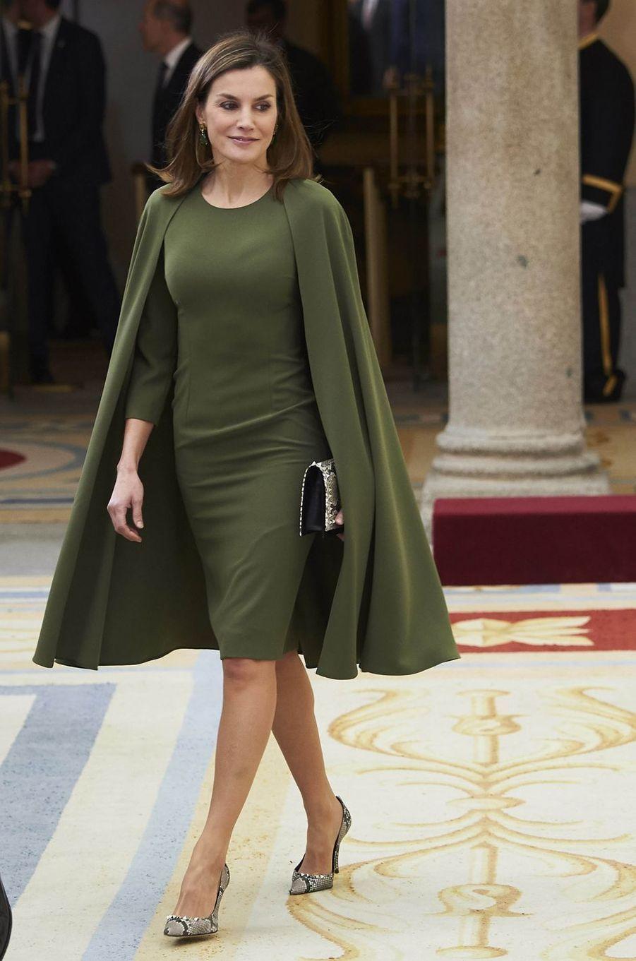 La reine Letizia d'Espagne a porté à nouveau sa robe-cape le 19 février 2018