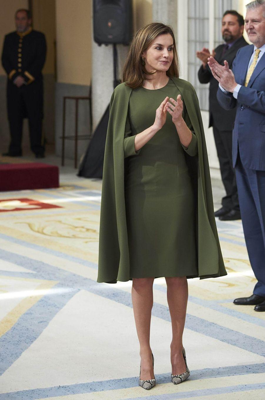 La reine Letizia d'Espagne le 19 février 2018