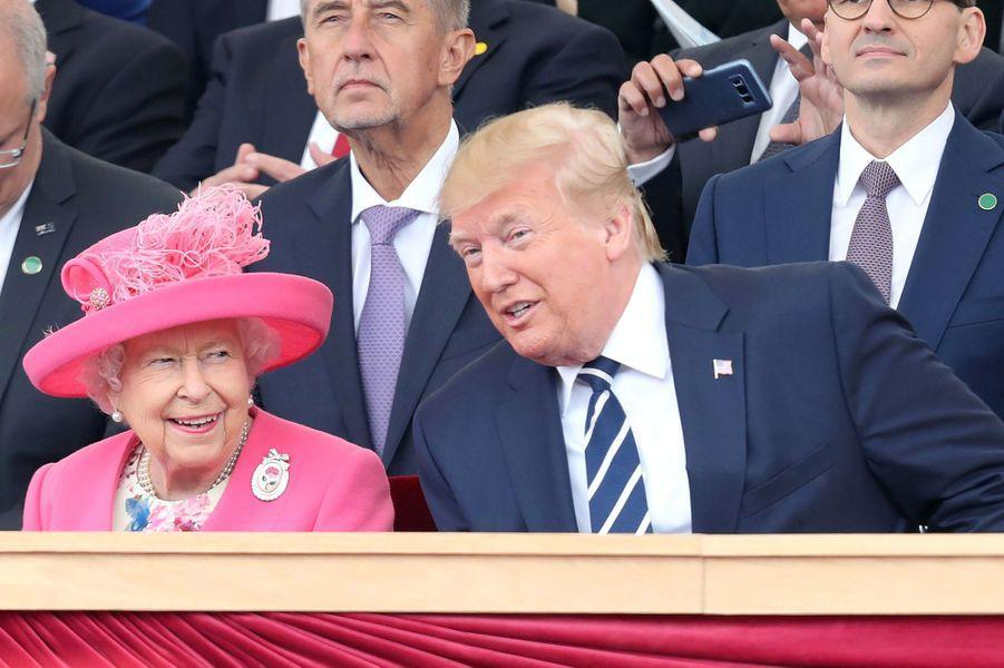 La reine Elizabeth II avec Donald Trump à Portsmouth, le 5 juin 2019