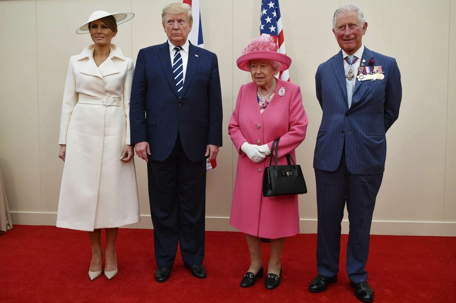 La reine Elizabeth II avec Donald et Melania Trump à Portsmouth, le 5 juin 2019
