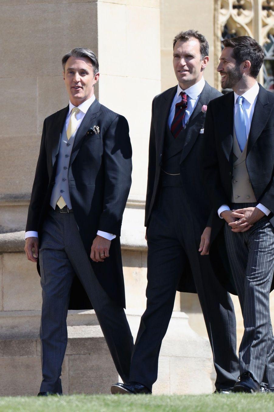 Ben Mulroney (à gauche), le mari deJessica Mulroney arrivant au mariage du prince Harry et Meghan Markle.