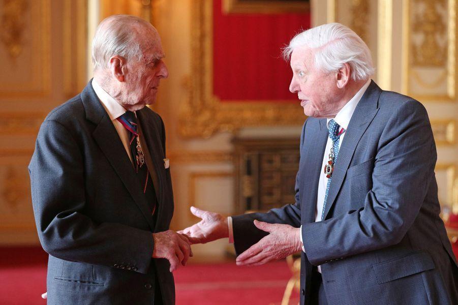 Le prince Philip avec Sir David Attenborough au château de Windsor, le 7 mai 2019
