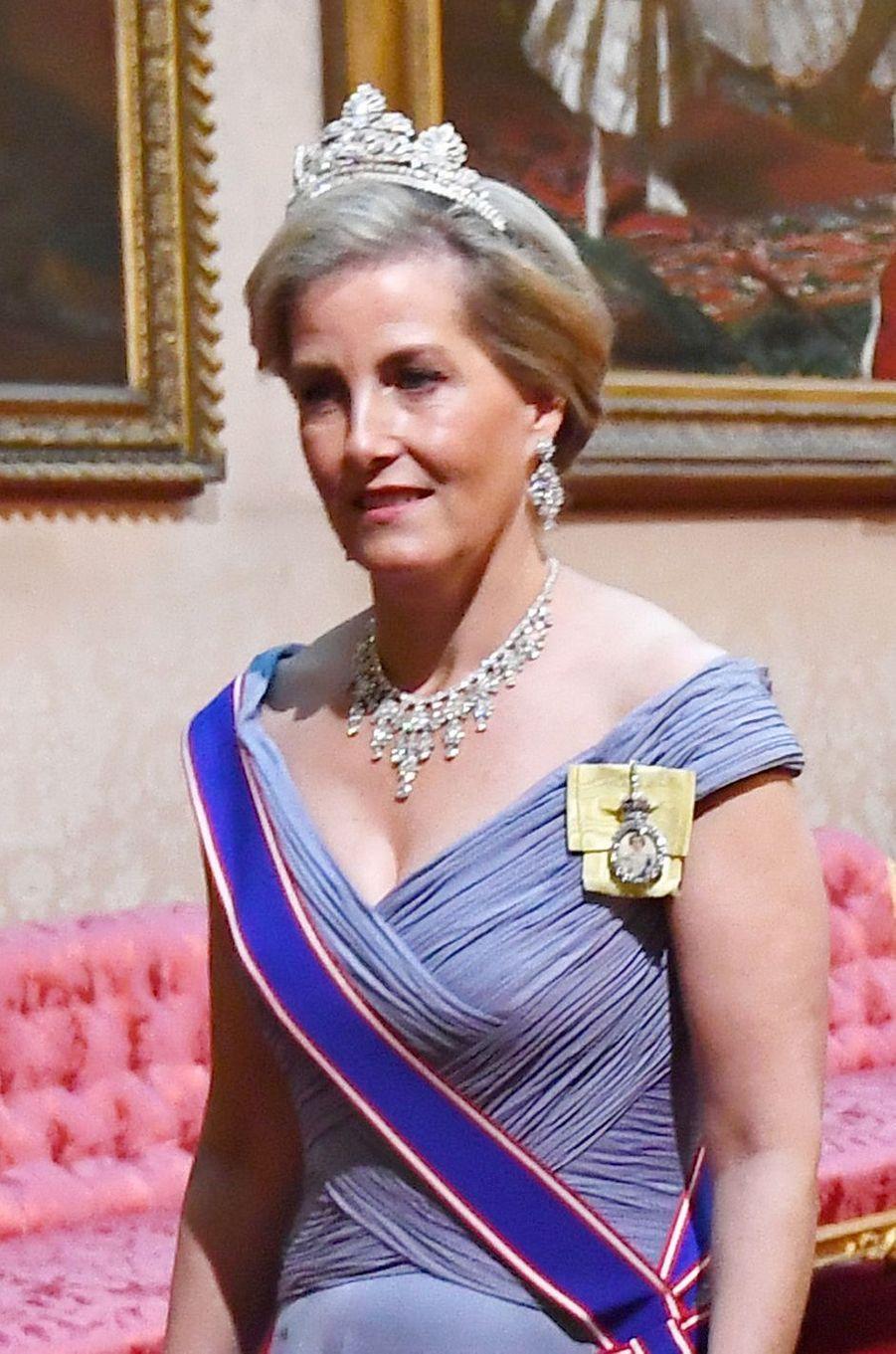 Détail de la robe de la comtesse Sophie de Wessex, à Londres le 3 juin 2019