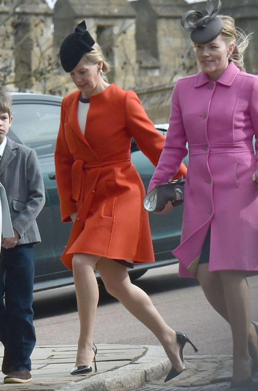 La comtesse Sophie de Wessex et Autumn Phillips à la messe de Pâques à Windsor, le 27 mars 2016