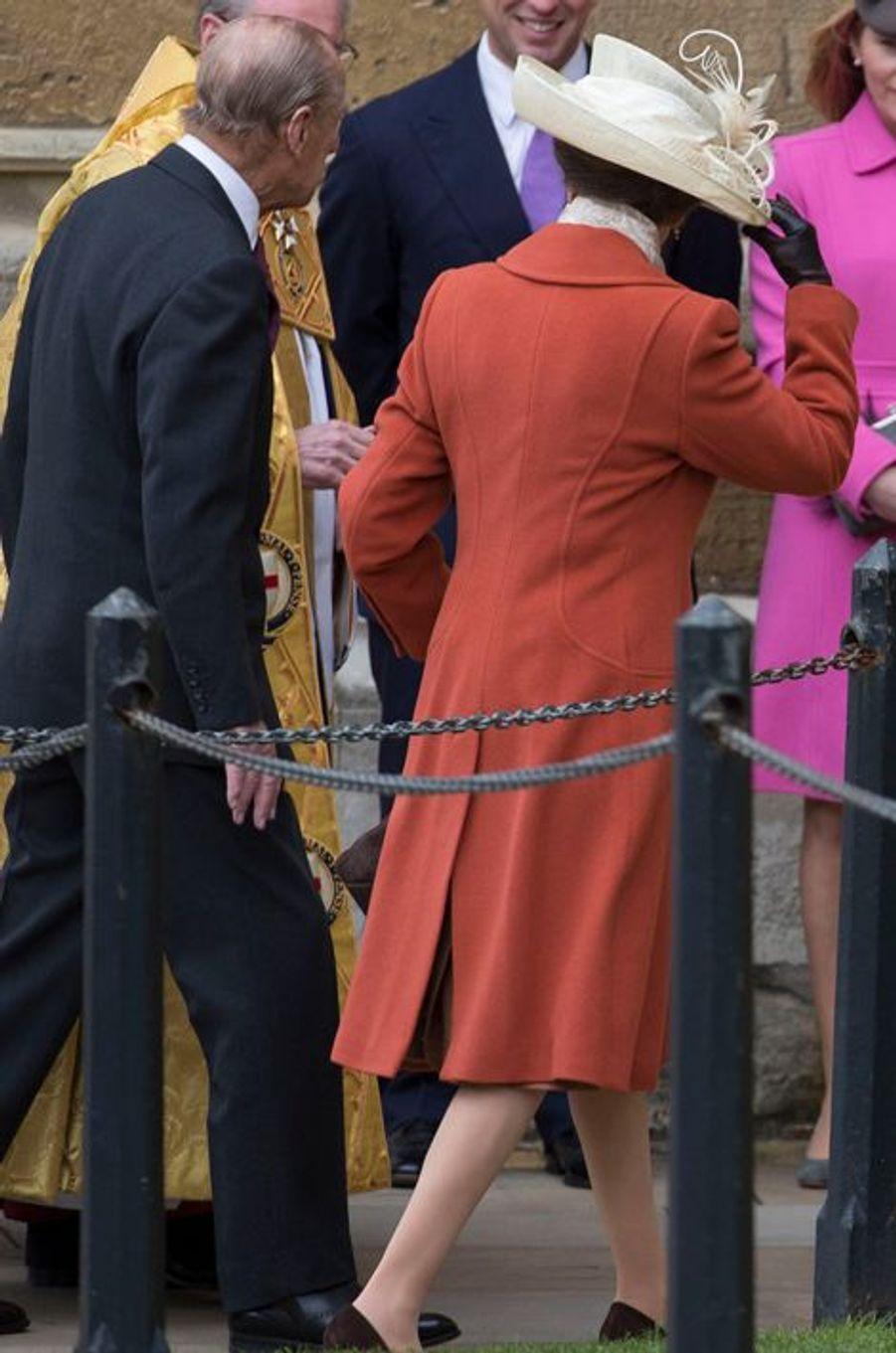 La princesse Anne à la messe de Pâques à Windsor, le 27 mars 2016