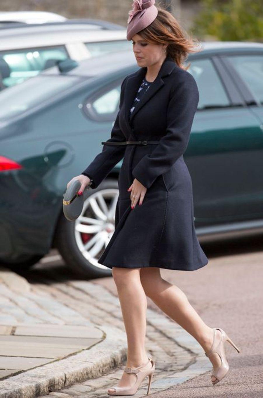 La princesse Eugenie d'York à la messe de Pâques à Windsor, le 27 mars 2016
