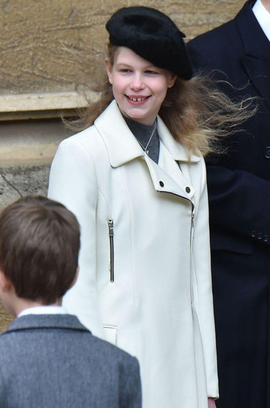 Lady Louise Windsor à la messe de Pâques à Windsor, le 27 mars 2016