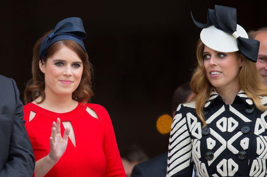 Les princesses Eugenie et Beatrice d'York à Londres, le 10 juin 2016