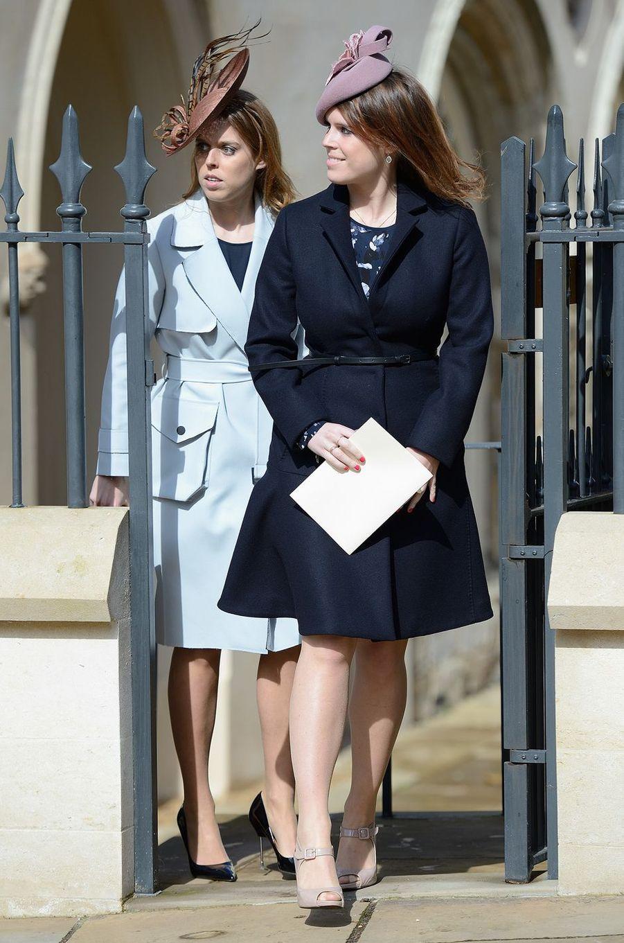 Les princesses Eugenie et Beatrice d'York à Londres, le 27 mars 2016