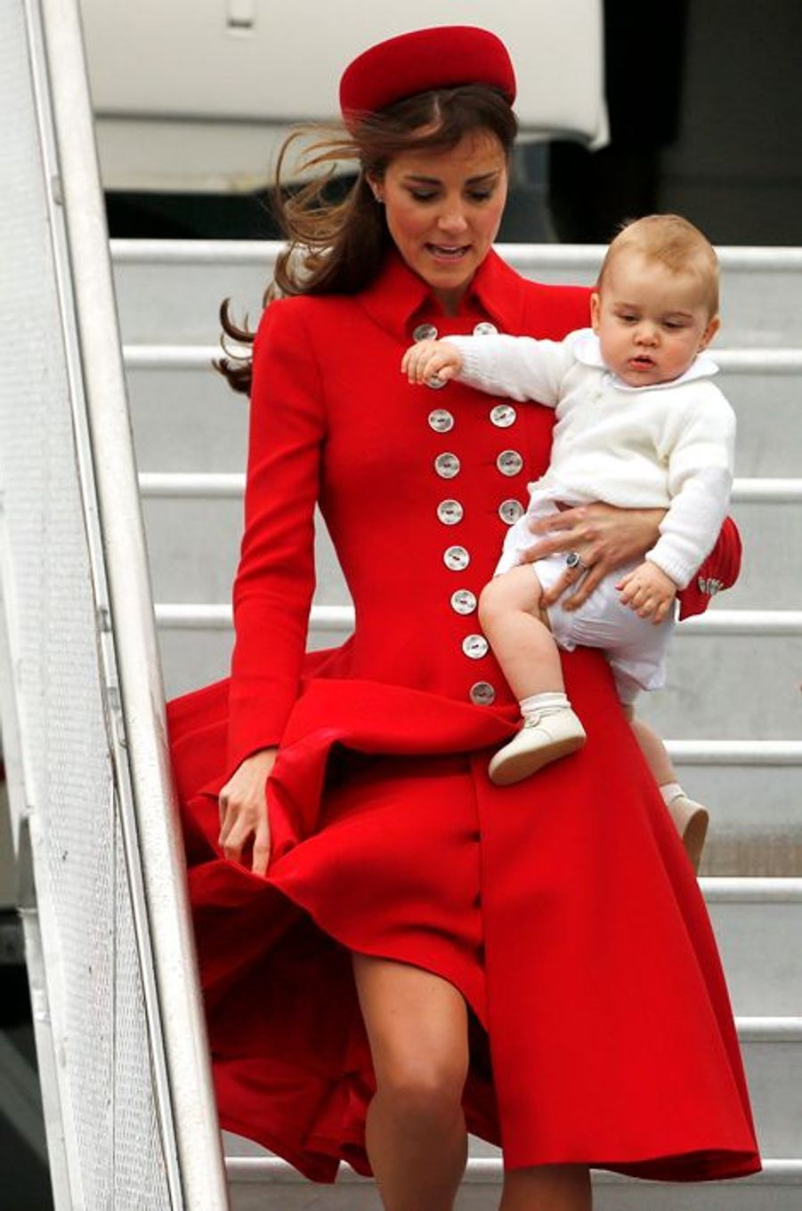 La duchesse de Cambridge Kate avec le prince George, le 7 avril 2014