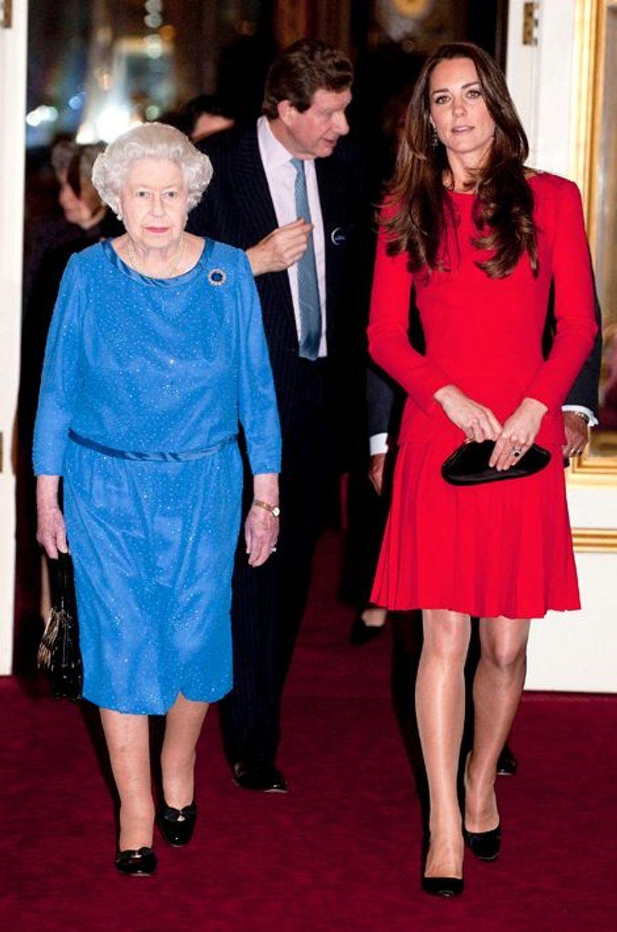 La duchesse Kate avec la reine Elizabeth II le 17 février 2014