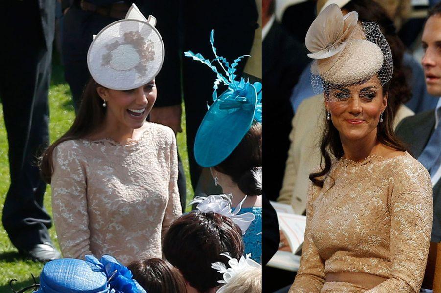 La duchesse Kate le 10 juin 2014 (à gauche) et le 5 juin 2012 (à droite)