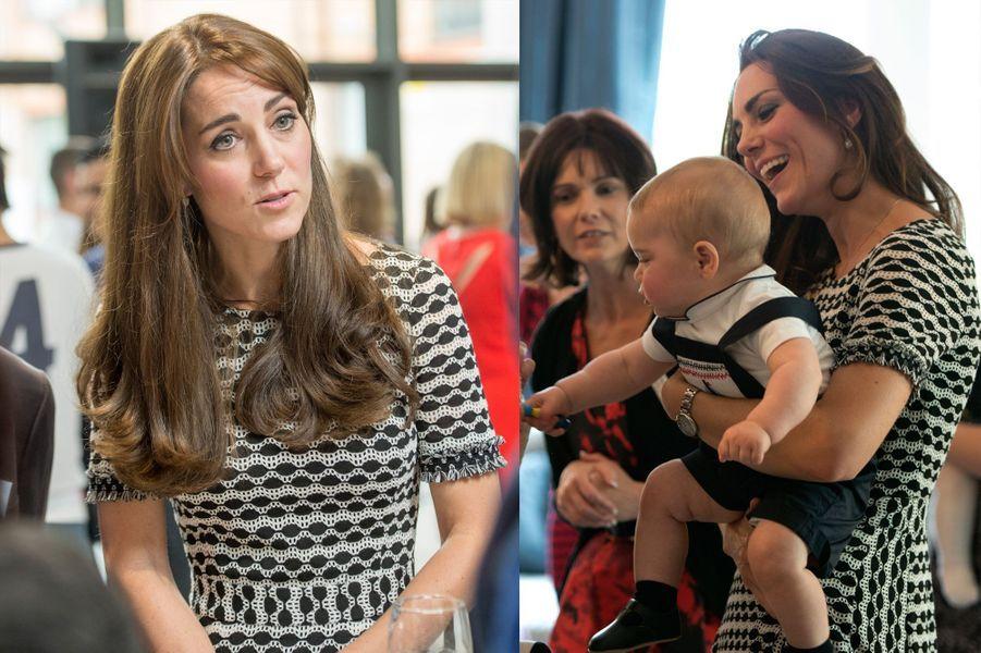 La duchesse Kate le 10 octobre 2015 (à gauche) et le 9 avril 2014 (à droite)