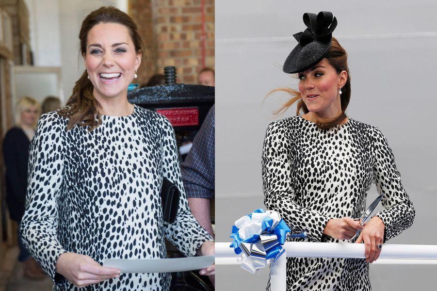 La duchesse Kate le 11 mars 2015 (à gauche) et le 13 juin 2013 (à droite)