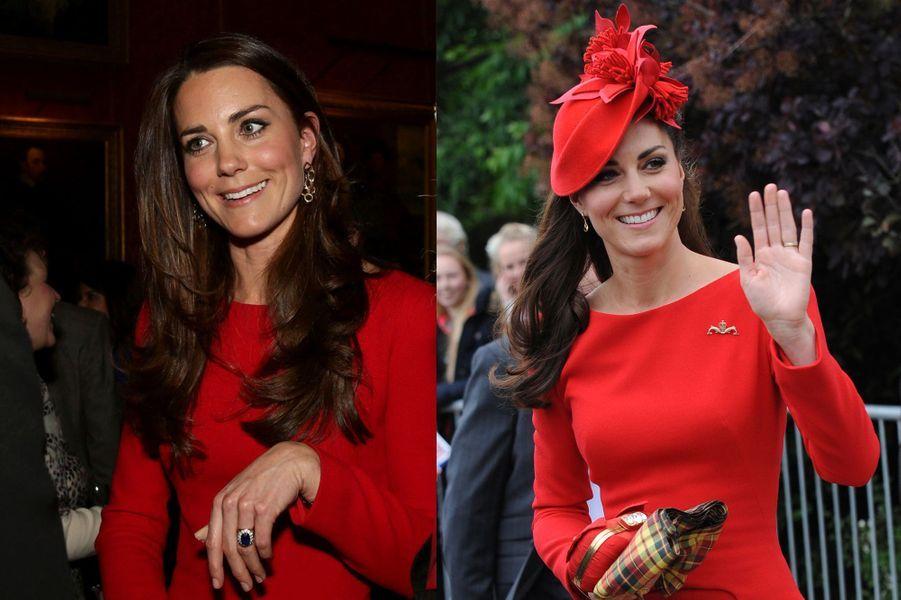 La duchesse Kate le 17 février 2014 (à gauche) et le 3 juin 2012 (à droite)