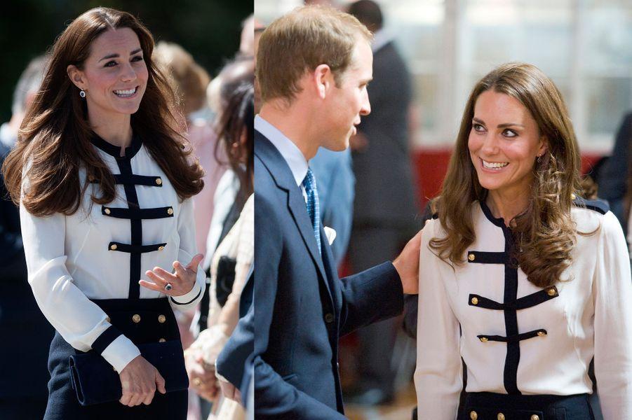 La duchesse Kate le 18 juin 2014 (à gauche) et le 19 août 2011 (à droite)