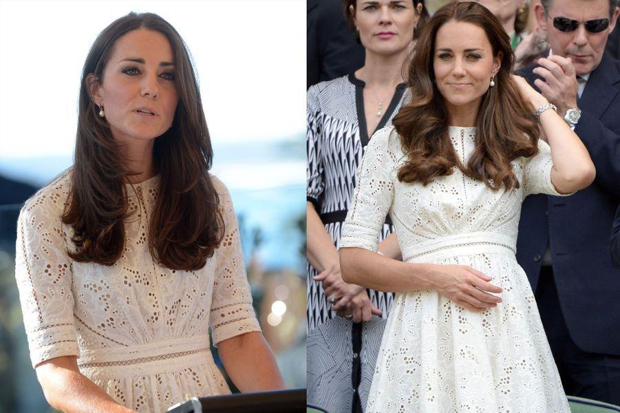 La duchesse Kate le 2 juillet 2014 (à gauche) et le 21 avril 2014 (à droite)