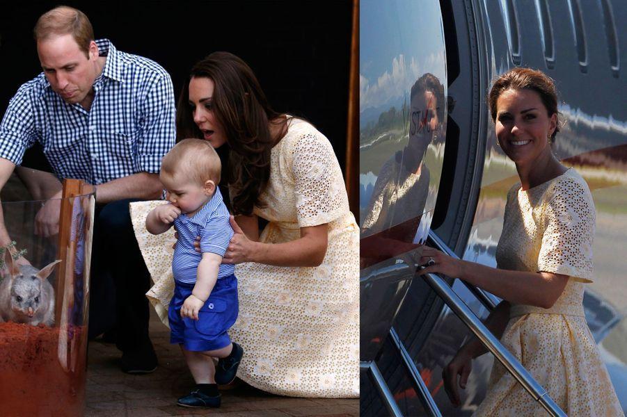 La duchesse Kate le 20 avril 2014 (à gauche) et le 18 septembre 2012 (à droite)