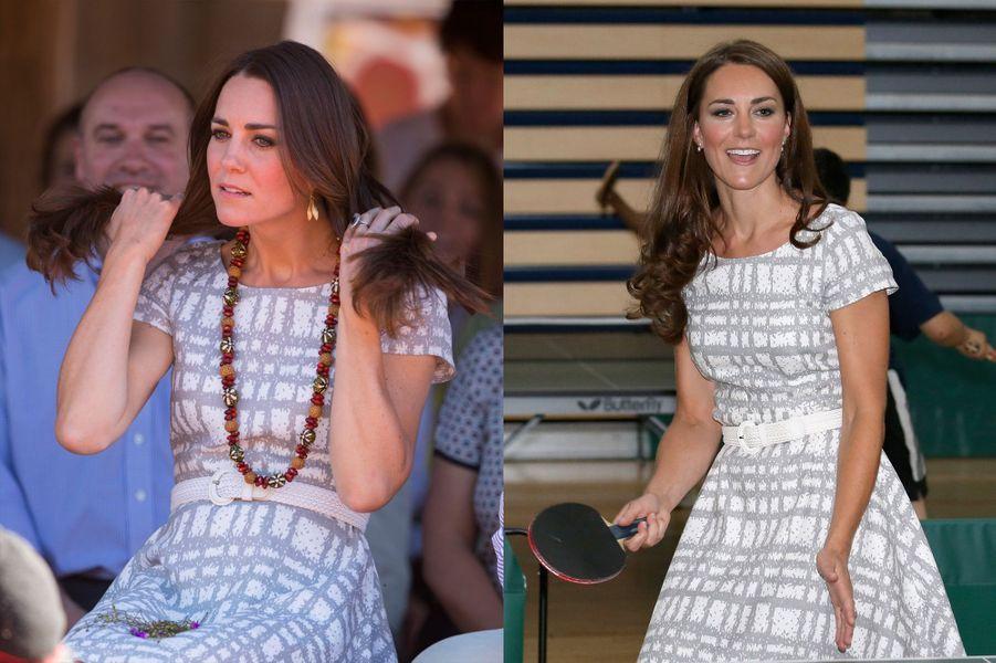 La duchesse Kate le 22 avril 2014 (à gauche) et le 26 février 2012 (à droite)