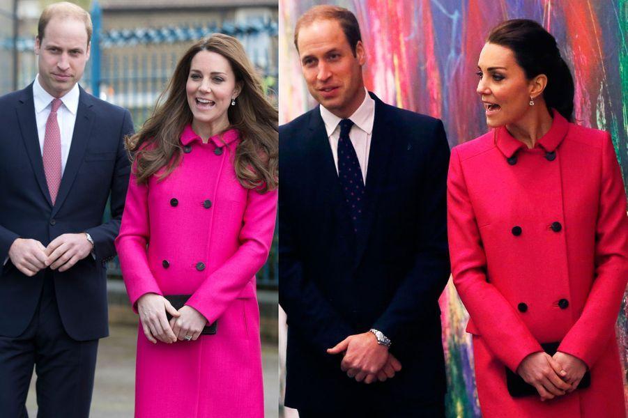 La duchesse Kate le 27 mars 2015 (à gauche) et le 9 décembre 2014 (à droite)