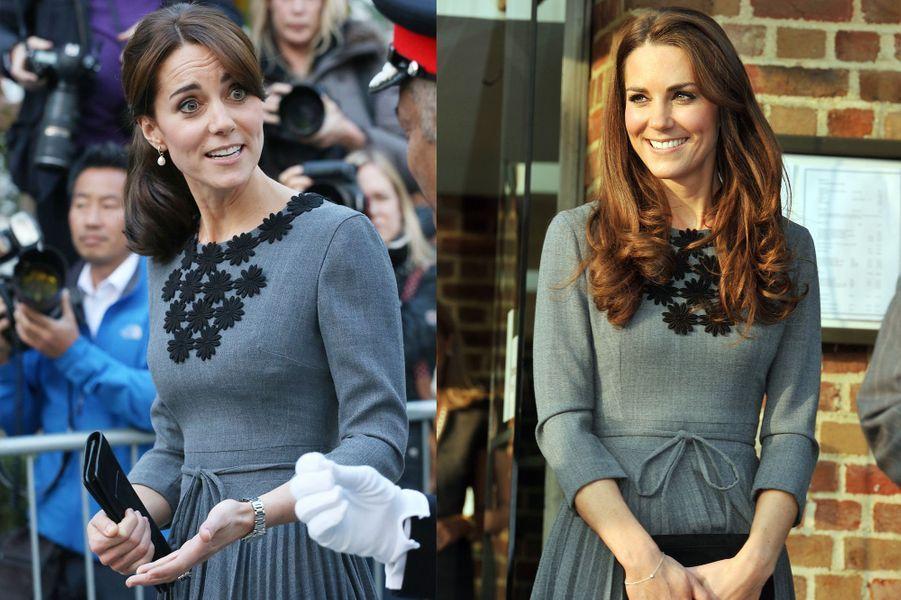 La duchesse Kate le 27 octobre 2015 (à gauche) et le 15 mars 2012 (à droite)