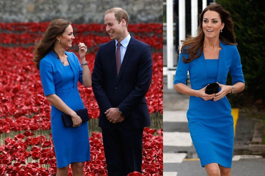 La duchesse Kate le 5 août 2014 (à gauche) et le 14 février 2014 (à droite)