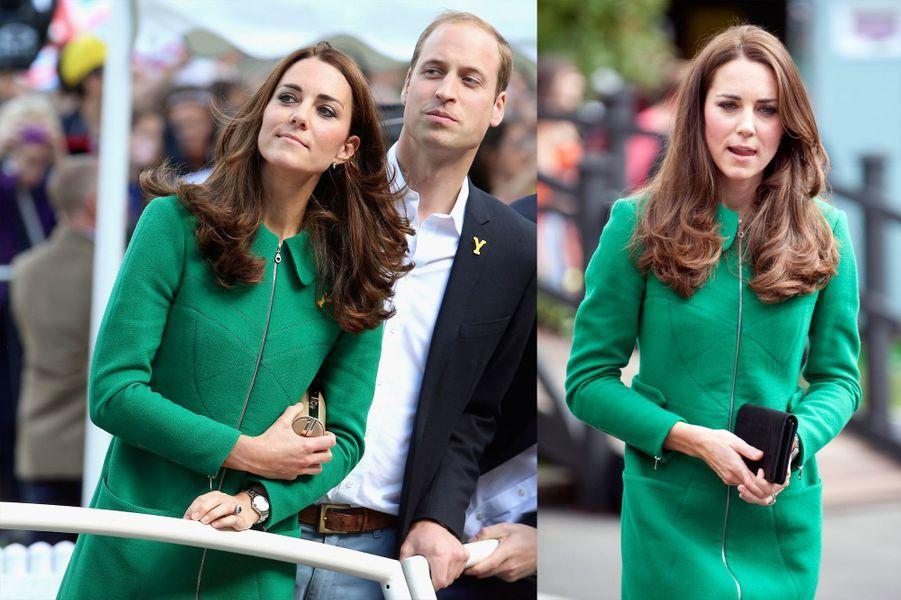 La duchesse Kate le 5 juillet 2014 (à gauche) et le 12 avril 2014 (à droite)