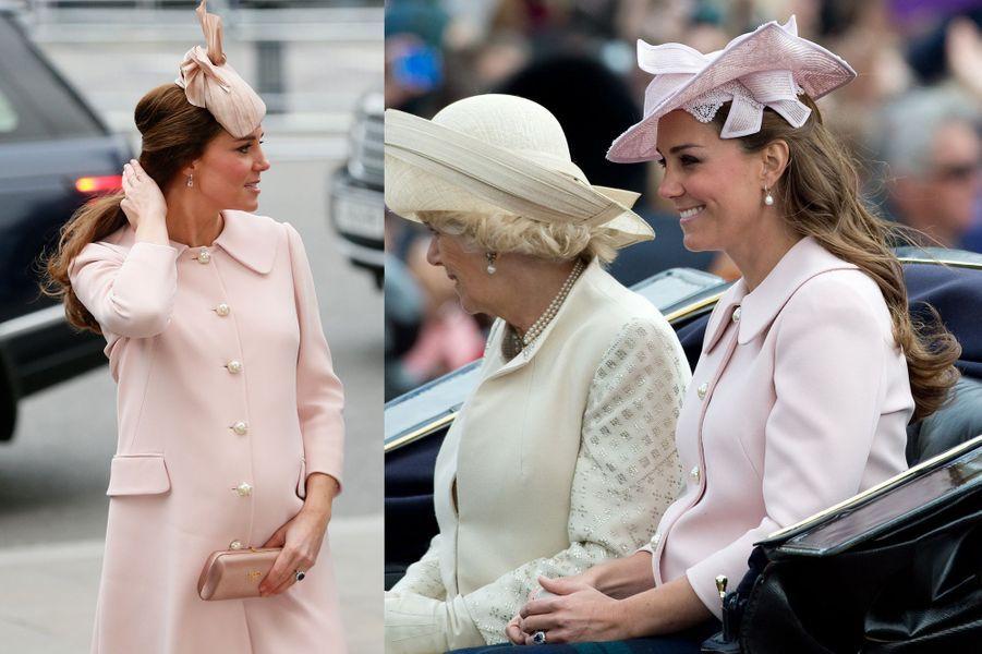 La duchesse Kate le 9 mars 2015 (à gauche) et le 15 juin 2013 (à droite)