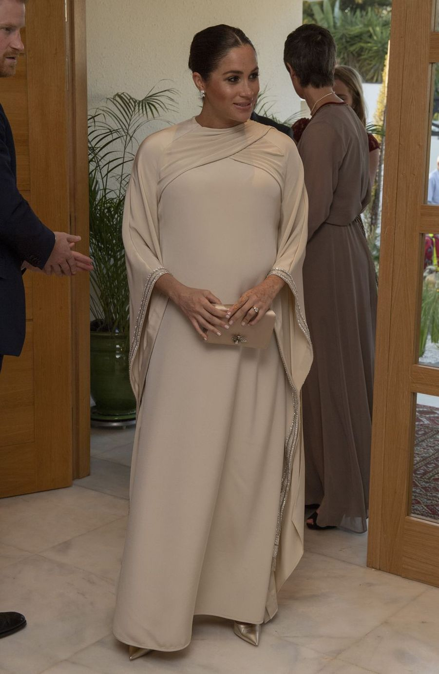 Meghan Markle en robe Dior pour la réception organisée par l'ambassadeur britannique au Maroc à Rabat, le 24 février 2019
