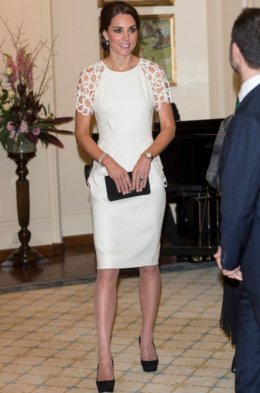 La duchesse Catherine de Cambridge en Lela Rose, le 24 avril 2014