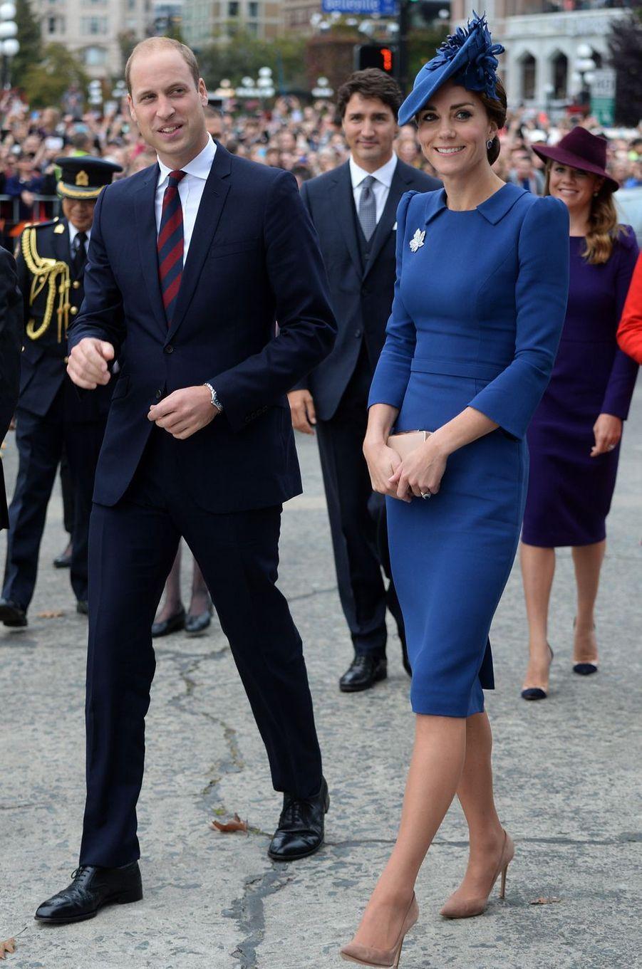La duchesse Catherine de Cambridge dans une robe Jenny Packham au Canada, le 24 septembre 2016