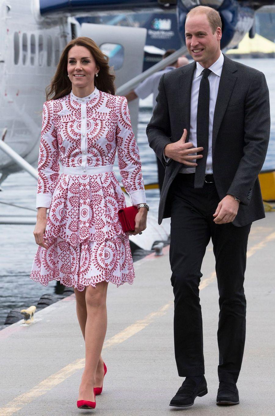 La duchesse Catherine de Cambridge dans une robe Alexander McQueen au Canada, le 25 septembre 2016