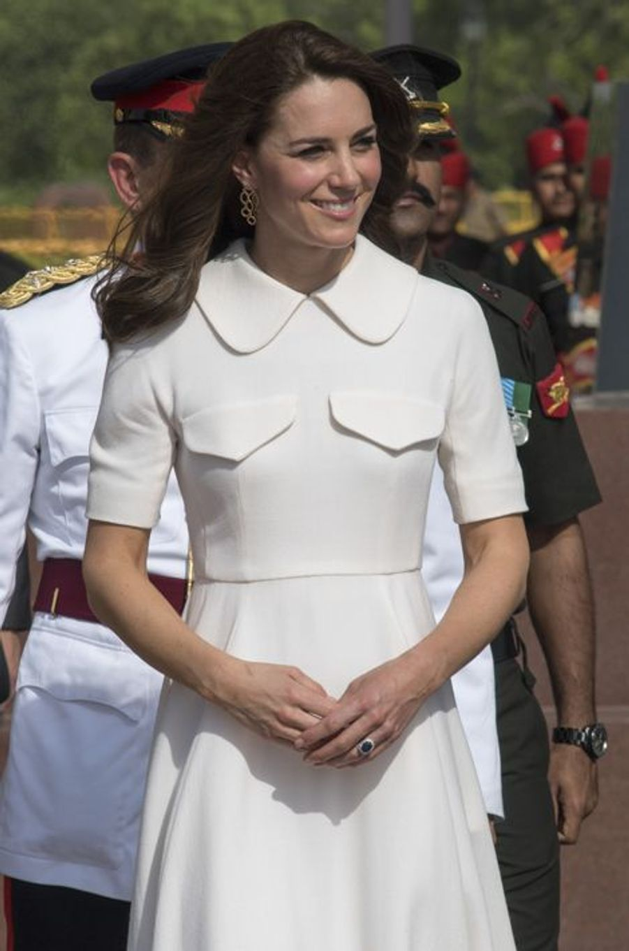 La duchesse Catherine de Cambridge en Emilia Wickstead, le 11 avril 2016