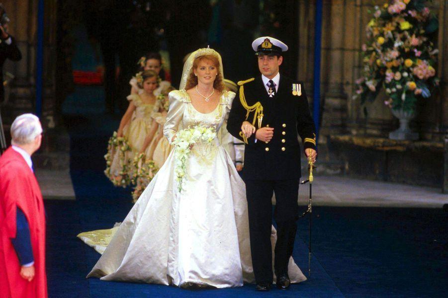 Sarah Ferguson et le prince Andrew lors de leur mariage, le 23 juillet 1986