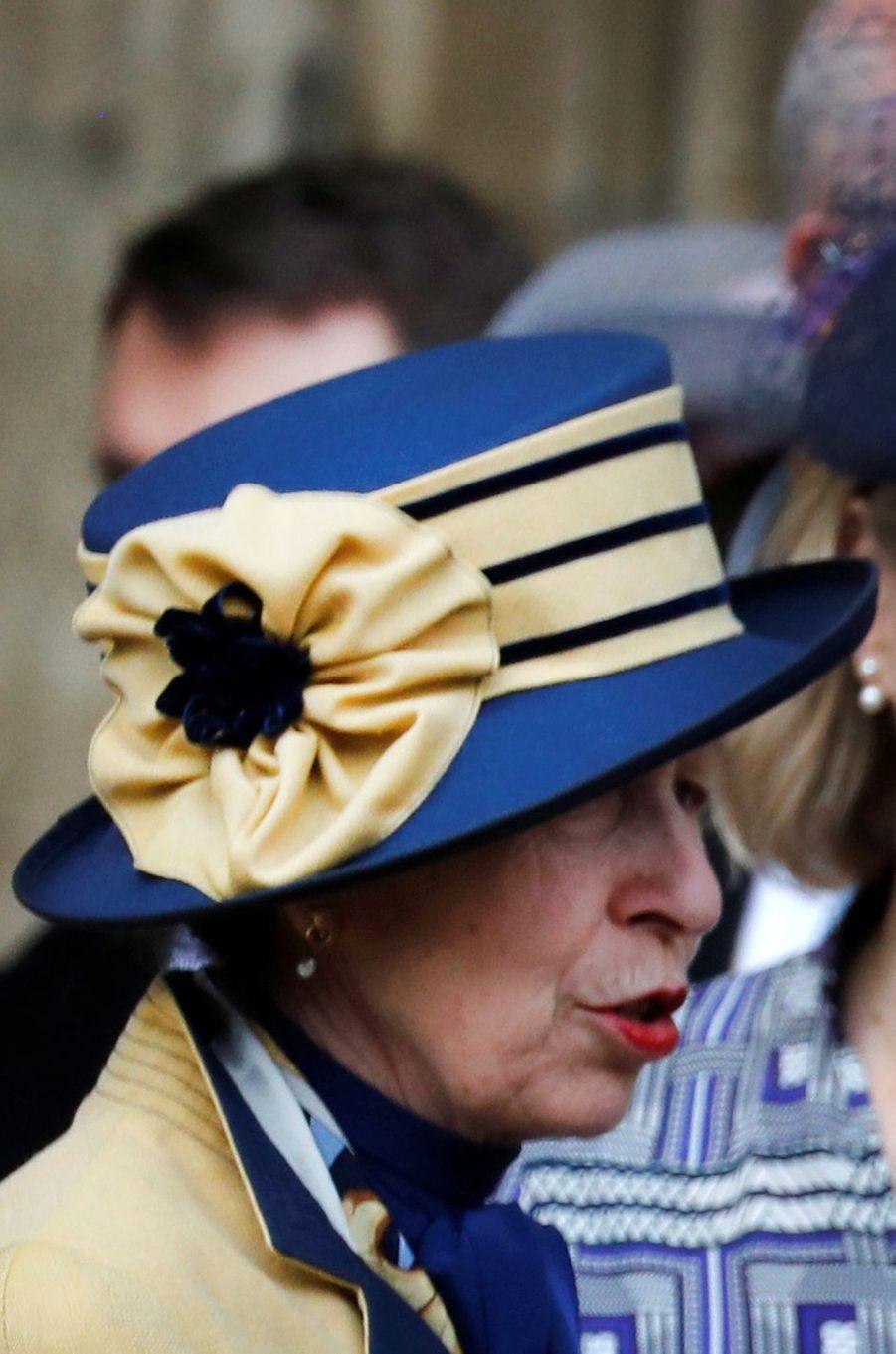 Le chapeau de la princesse Anne à Windsor, le 18 mai 2019
