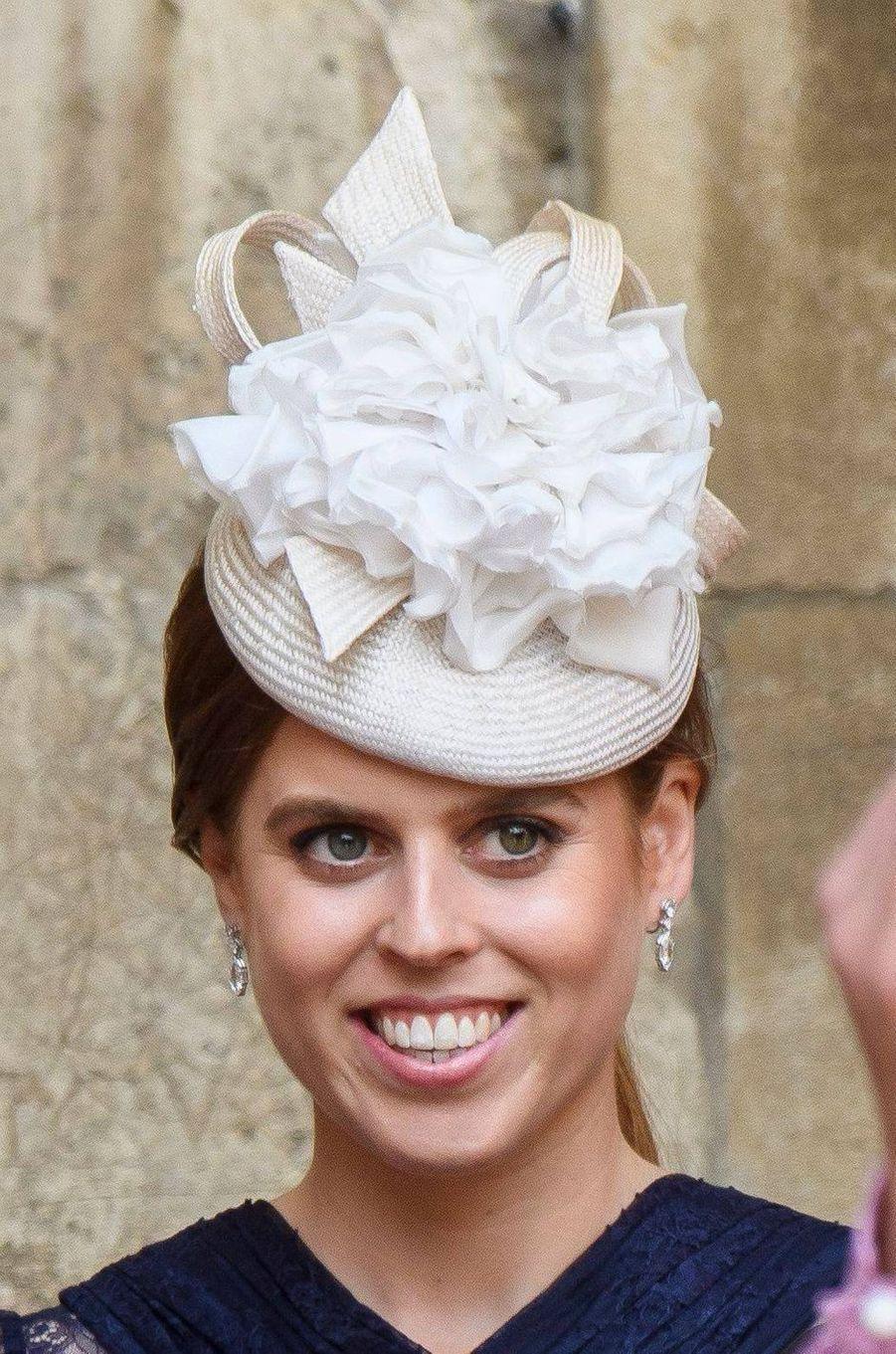 Le chapeau de la princesse Beatrice d'York à Windsor, le 18 mai 2019