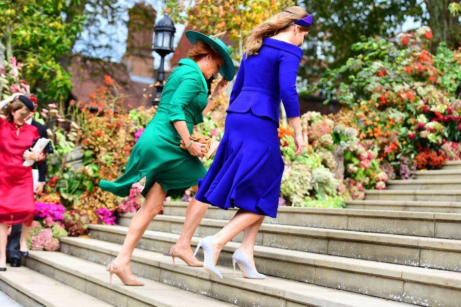 Sarah Ferguson et la princesse Beatrice d'York, à Windsor le 12 octobre 2018