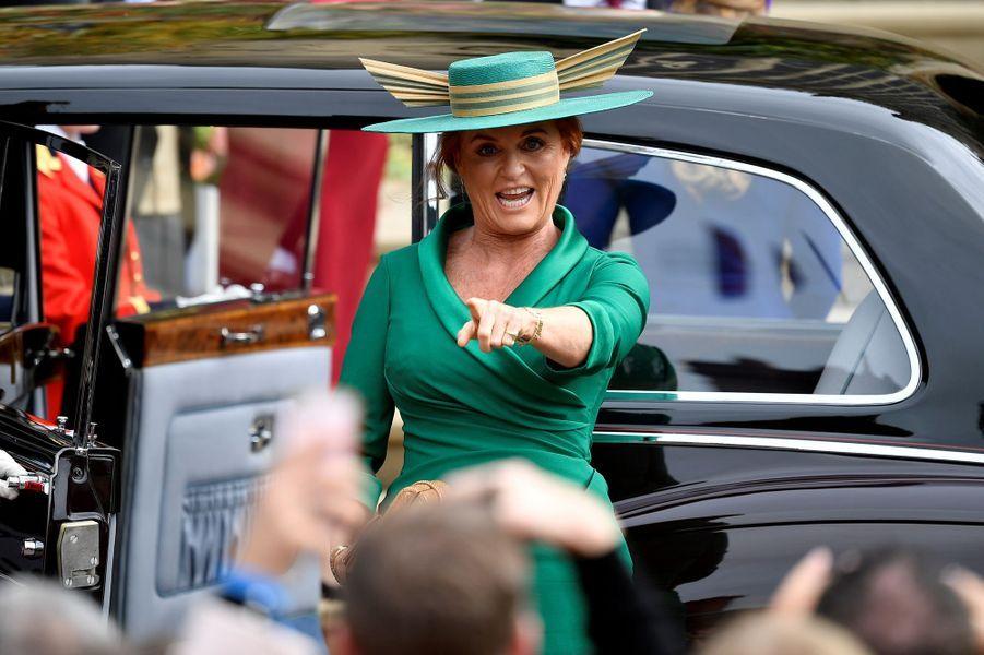 Sarah Ferguson, duchesse d'York, et son drôle de chapeau, à Windsor le 12 octobre 2018
