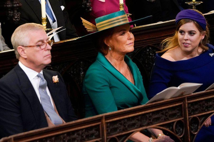 Le prince Andrew, Sarah Ferguson et la princesse Beatrice d'York, à Windsor le 12 octobre 2018