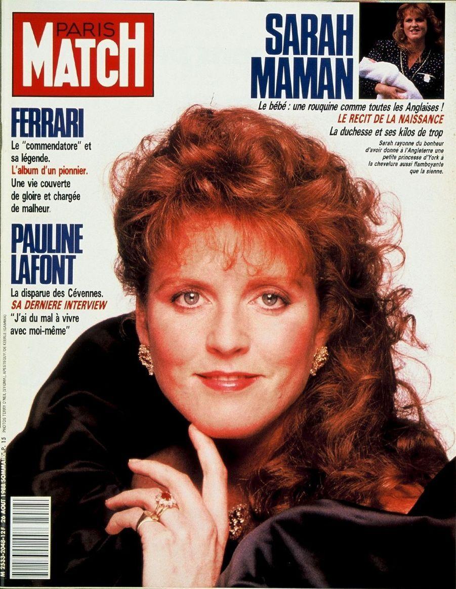 Sarah maman,en couverture de Paris Match,Paris Match n°2048 daté du 26 août 1988.