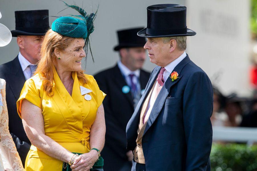 Sarah Ferguson et son ex-mari le prince Andrew, au Royal Ascot le 21 juin 2019