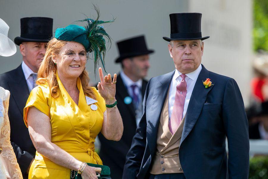 Sarah Ferguson et le prince Andrew, au Royal Ascot le 21 juin 2019
