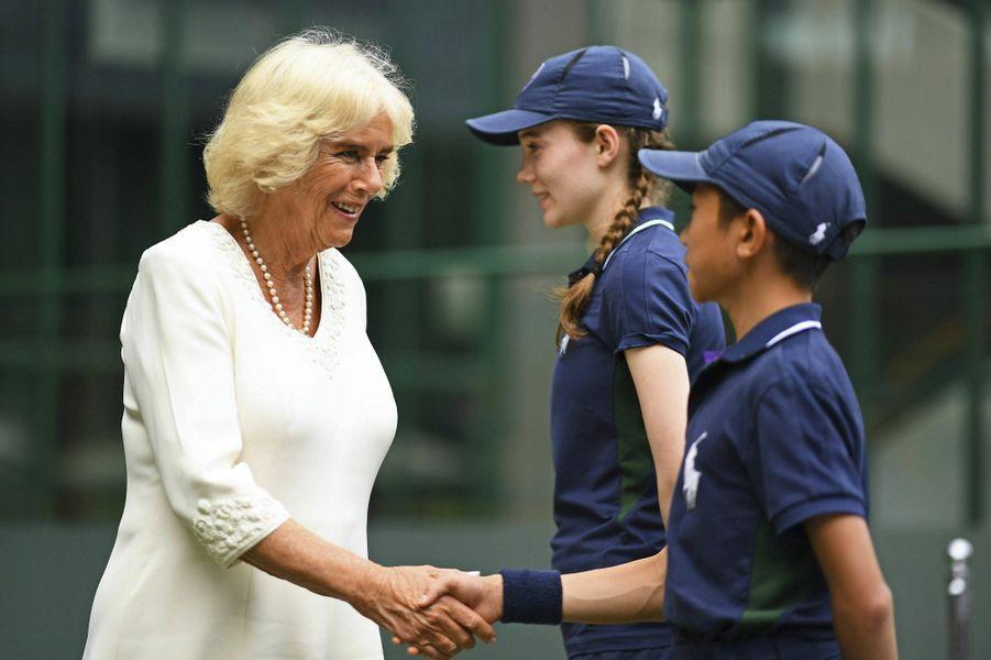 Camilla Parker-Bowles, duchesse de Cornouailles, au tournoi de Wimbledon à Londres, le 10 juillet 2019