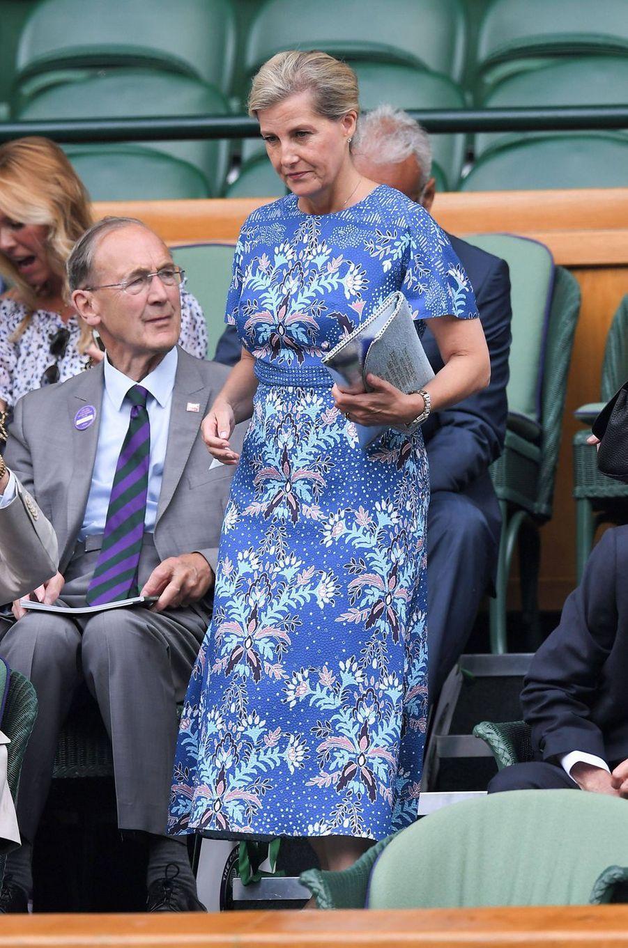 La comtesse Sophie de Wessex au tournoi de Wimbledon à Londres, le 10 juillet 2019