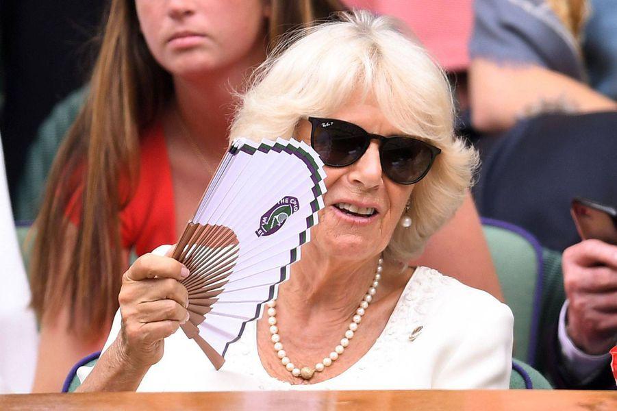 Camilla Parker-Bowles au tournoi de Wimbledon à Londres, le 10 juillet 2019