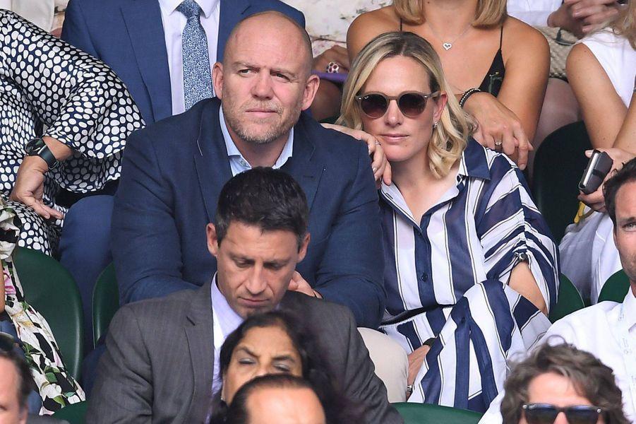 Zara Phillips et Mike Tindall au tournoi de Wimbledon à Londres, le 10 juillet 2019