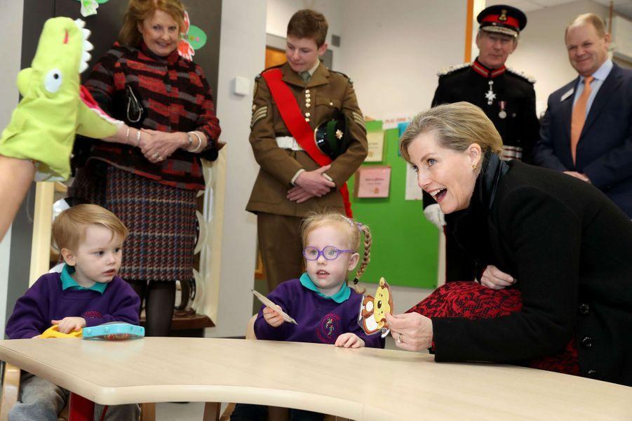 La comtesse Sophie de Wessex en visite à Belfast en Irlande du Nord, le 23 janvier 2018
