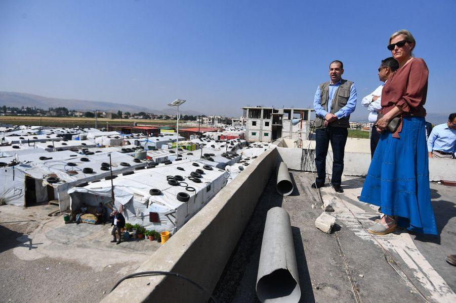 La comtesse Sophie de Wessex dans une colonie de réfugiés au Liban, le 12 juin 2019