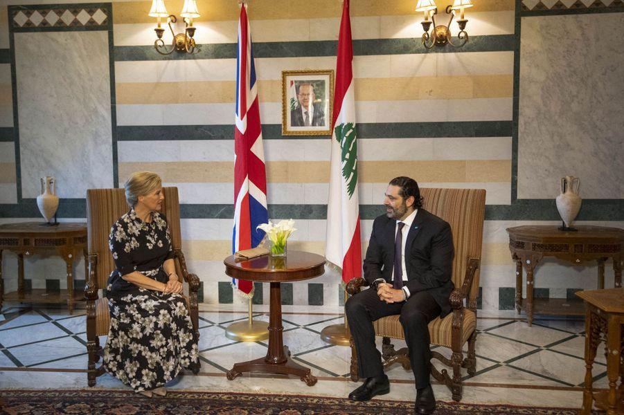 La comtesse Sophie de Wessex avec le Premier ministre du Liban à Beyrouth, le 13 juin 2019